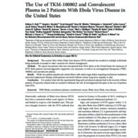 The Use of TKM-100802 and Convalescent Plasma in 2 Patients With Ebola Virus Disease in the United States