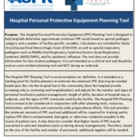 Hospital Personal Protective Equipment (PPE) Planning Tool / Calculator
