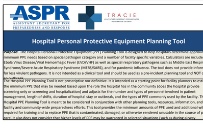 Hospital Personal Protective Equipment Planning Tool