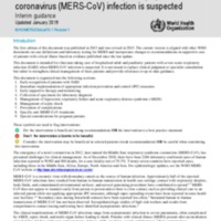 Clinical management of severe acute respiratory infection when Middle East respiratory syndrome coronavirus (MERS-CoV) infection is suspected - Interim guidance