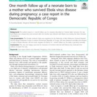 One month follow up of a neonate born to a mother who survived Ebola virus disease during pregnancy: a case report in the Democratic Republic of Congo
