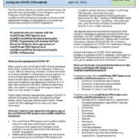 Fact Sheet for Health Care Providers: Emergency Use Authorization (EUA) of multiFiltrate PRO System and multiBic/multiPlus Solutions during the COVID-19 Pandemic