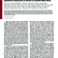 Safety considerations in the laboratory testing of specimens suspected or known to contain Ebola virus