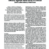 Two-Center Evaluation of Disinfectant Efficacy against Ebola Virus in Clinical and Laboratory Matrices