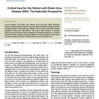 Critical Care for the Patient with Ebola Virus Disease (EBV): The Nebraska Perspective