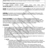 POLICY-Frontline Travel and Symptom Screening for Persons Under Investigation (8885) part 1