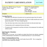 Patient Care Simulation: Case: Patient Transfer