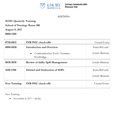 Unit Training Agenda