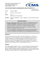 Emergency Preparedness- Updates to Appendix Z of the State Operations Manual (SOM)