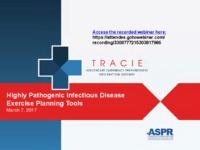 Highly pathogenic infectious disease exercises webinar, 3-7-2017