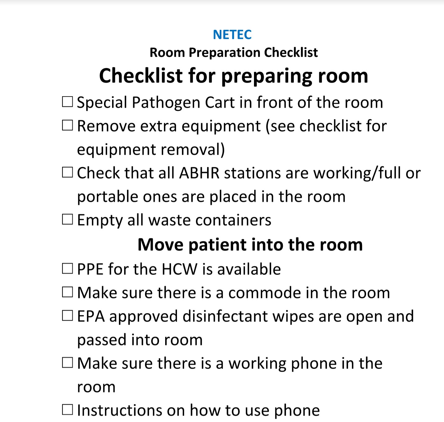 NETEC Checklist for preparing the Isolation Room.docx